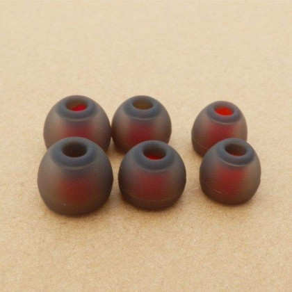 3 Pairs Grey-Red Eartips - S/M/L