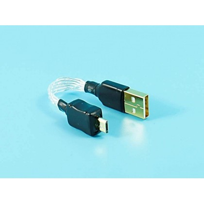 Micro USB to USB 2.0 Pure Silver Cable - 12cm